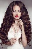 Здоровые длинние волосы Состав девушки красивейшее брюнет губы красные pe Стоковые Изображения RF