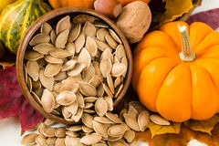 Здоровые провозглашанные тост семена тыквы Стоковое фото RF