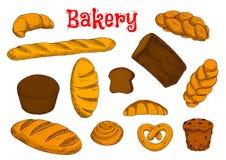Здоровые эскизы хлебопекарни и печенья иллюстрация штока