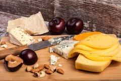 Здоровые snaks от разного вида сыра, гаек и слив Стоковые Изображения RF