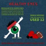 Здоровый глаз Информация о преимуществах гимнастики для глаз Стоковое Изображение