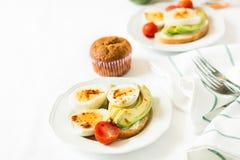 Здоровый завтрак: здравицы с кусками авокадоа, томатом, паприкой и яичками Стоковая Фотография