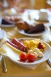 Здоровый завтрак на крупном плане таблицы внутри стоковые фотографии rf
