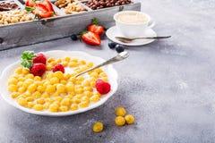 Здоровый завтрак с кофе и хлопьями Стоковые Фотографии RF
