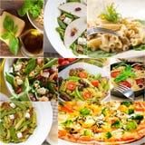 Здоровый и вкусный итальянский коллаж еды Стоковое Изображение