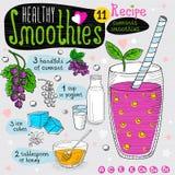 Здоровый комплект рецепта smoothie Стоковая Фотография RF