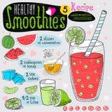 Здоровый комплект рецепта smoothie Стоковое Изображение