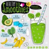 Здоровый комплект рецепта smoothie Стоковые Изображения RF