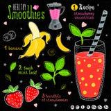 Здоровый комплект рецепта smoothie Стоковое Фото