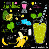 Здоровый комплект рецепта smoothie Стоковые Фотографии RF