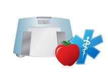 Здоровый масштаб еды и веса, дизайн иллюстрации иллюстрация штока