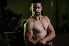 Здоровый молодой человек изгибая мышцы Стоковые Фотографии RF