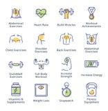 Здоровый образ жизни - значки разминки - серия плана Стоковое фото RF