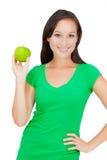 Здоровый образ жизни - счастливая женщина есть яблоко Стоковое Изображение RF