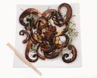 Здоровый продукт моря - осьминог & розмариновое масло Стоковое Изображение RF