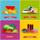 Здоровый плакат вектора еды в плоском дизайне стиля Различные группы в составе продукты иллюстрация вектора