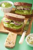 Здоровый сандвич авокадоа с луком ростков альфальфы огурца Стоковое фото RF