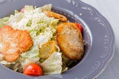 Здоровый салат цезаря с сыром, цыпленком и томатами в железном конце плиты вверх Стоковое Фото
