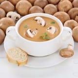 Здоровый суп гриба еды с свежими грибами в шаре Стоковое Фото