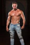 Здоровый человек в джинсах с 6 пакетами Стоковая Фотография RF