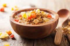 Здоровый granola с сухими плодоовощами для завтрака Стоковое фото RF