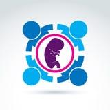 Здоровье женщин - пренатальный центр, значок концепции вектора Стоковая Фотография