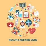 Здоровье и медицинская концепция знаков Стоковые Изображения RF