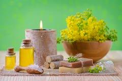 Здоровье, курорт и ароматерапия с эфирными маслами, свежими заводами, свечой, мылом, солью на зеленой предпосылке, селективной Стоковые Фото