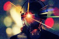 Злодеяние виртуального пространства, предпосылка хакера Стоковое фото RF