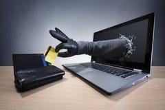 Злодеяние интернета и электронная безопасность банка стоковое изображение