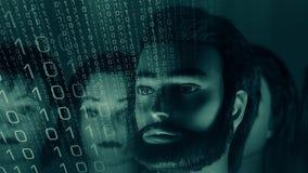 Злодеяние кибер, сеть компьютерной безопасности нападения роботов акции видеоматериалы