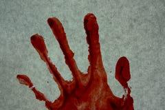 Злодеяние убийство Кровь красного цвета отпечатка руки стоковое фото rf