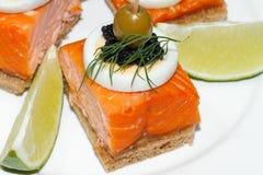 Здравица, копченая семга, яичко, икра, апельсин, оливка, виноградина Стоковые Фотографии RF