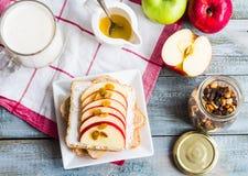 Здравица отрубей с сыром, яблоком и высушенными плодоовощами, здоровыми breakfas Стоковое Изображение RF