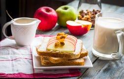 Здравица отрубей с сыром, яблоком и высушенными плодоовощами, здоровыми breakfas Стоковая Фотография