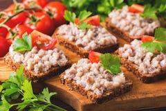Здравица с кошерным затиром Forshmak, петрушкой и томатами вишни Стоковое Изображение