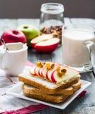 Здравица с сыром, яблоком и высушенными плодоовощами, здоровым завтраком Стоковые Фото