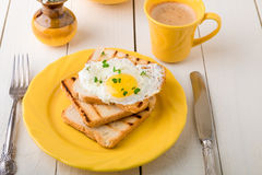 Здравица с яичком в желтой плите около вазы с цветком на белой деревянной предпосылке завтрак здоровый Стоковые Изображения