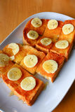 Здравица хлеба с медом и бананом Стоковое Изображение RF