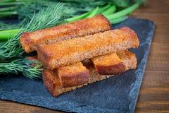 Здравицы и укроп гренков зажаренного хлеба Стоковое фото RF