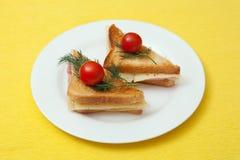 Здравицы с сыром и ветчиной Стоковое Изображение