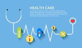 Здравоохранение, стетоскоп, cardiogram, медицинский контроль, установленные концепции Современные плоские идеи проекта для знамен Стоковые Изображения