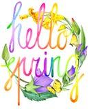 Здравствуйте! весна Иллюстрация весны акварели иллюстрация вектора