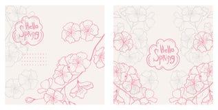 Здравствуйте! весна Комплект предпосылок вектора флористических Стоковые Фото