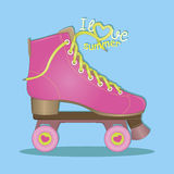 Здравствуйте! лето Я люблю лето вектор Розовые ролики Кататься на коньках ролика взрослые молодые иллюстрация штока
