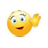 Здравствуйте! женского smiley развевая Стоковое Фото