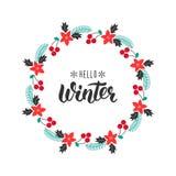 Здравствуйте! зима Ультрамодная цитата почерка с венком приветствию с rowanberry, елью разветвляет, poinsettia для рождественских иллюстрация вектора