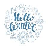 Здравствуйте! зима handlettering с элементами рождества Карточка сезона зимы, приветствуя Стоковое Фото
