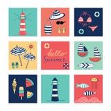 Здравствуйте! значки doodle лета красочные квадратные Стоковые Фотографии RF