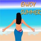 Здравствуйте! дизайн вектора пляжа лета Стоковое Изображение RF